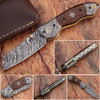 White Deer Unique Damascus Steel Tanto Wharncliffe Folding Knife