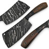 White Deer Grooved Damascus Steel Butchers Cleaver Knife
