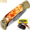 WHITE DEER Lockback Damascus Folding Knife Orange Giraffe Bone Handle Engraved Bolster