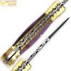 WHITE DEER Lockback Damascus Folding Knife Purple Giraffe Bone Handle Engraved Bolster