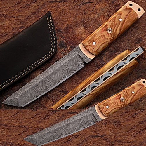 White Deer Damascus Steel Tanto Point Hunting Knife Burl Olive Wood Handle