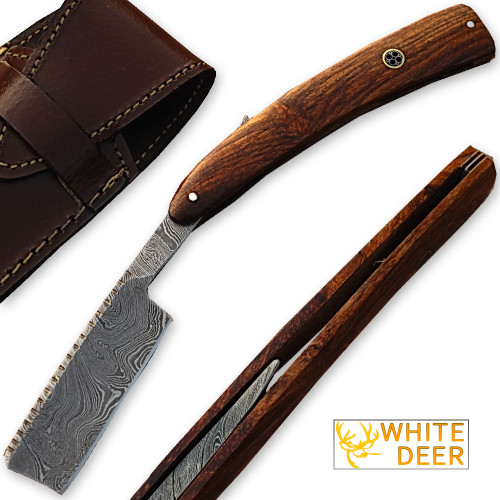 White Deer Custom Made Damascus Steel Straight Razor w/ Wood Handle & Sheath