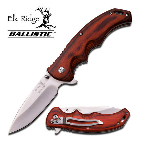 ELK RIDGE BALLISTIC SPRING ASSISTED  KNIFE - BROWN PAKKAWOOD