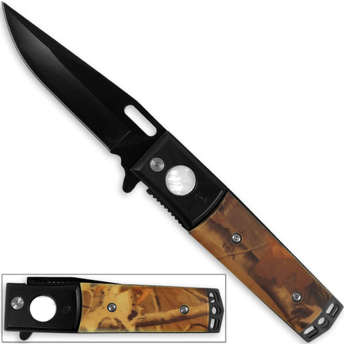 Kennesaw Battlefield Natural Camo Grip Folding Knife