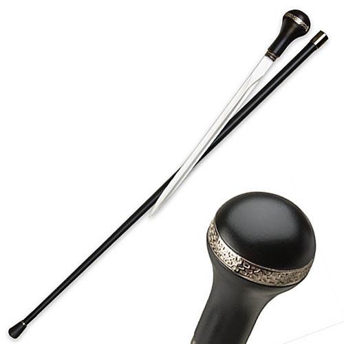Walking Cane - Elegant Executive - Black w/ Nickel Trim Sword Cane