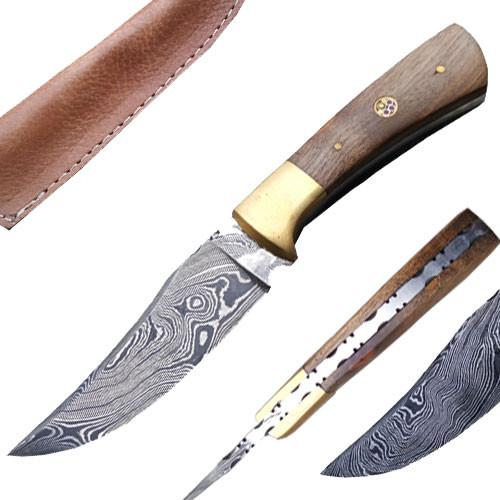 Custom Made Damascus Hunting Knife w/ Full Tang Walnut-Wood Handle