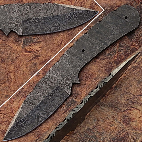 Blank Blade Damascus Eye Bird Pattren Full Tang Skiner Knife