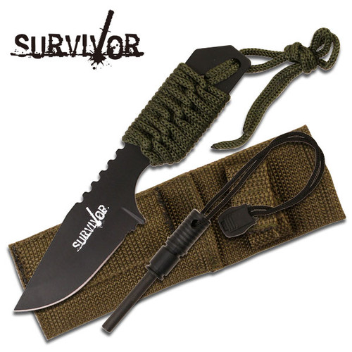 Survival Fire Starter Hunting Camping Knife w/ Flint Full Tang