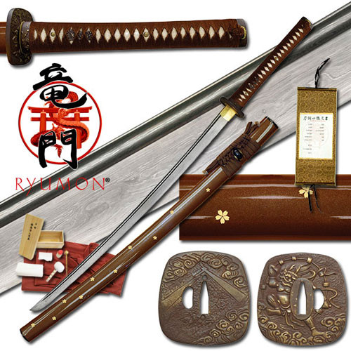 Ryumon - Folded Damascus Sakura Katana Sword