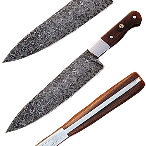 Custom Handmade Damascus Steel Chef Knife Wood Handle