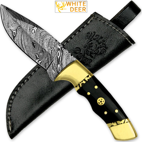 White Deer Handmade Loneman Damascus Steel Hunting Knife