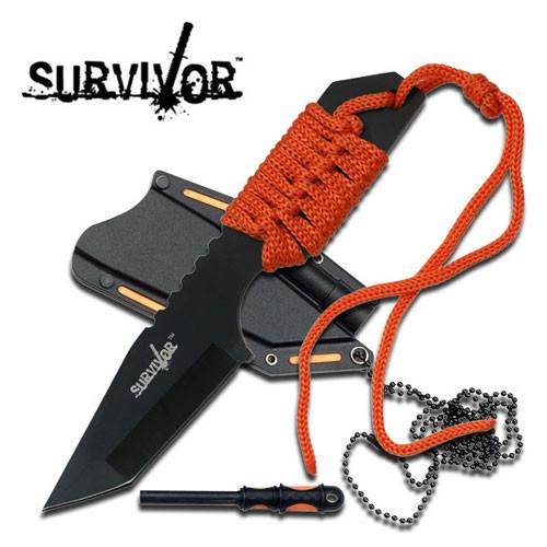 SURVIVOR FIXED BLADE NECK KNIFE W/ FIRE STARTER