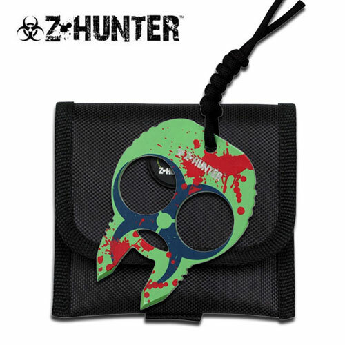 Zombie Hunter Knuckle Buckles - Green Blue with Red Splash