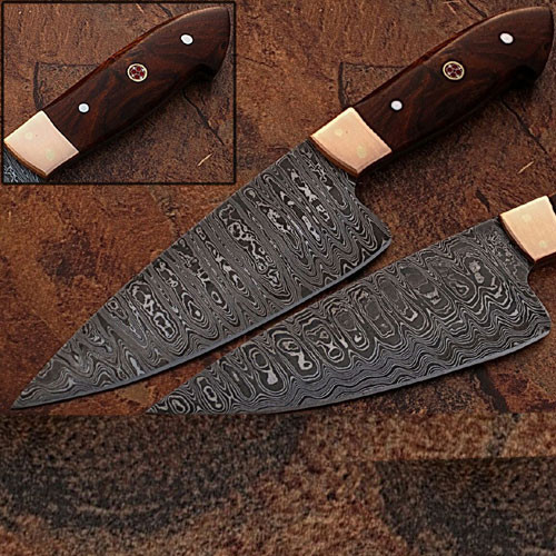 Custom Made Damascus Steel Chef Knife Rose Wood Handle Copper Bo