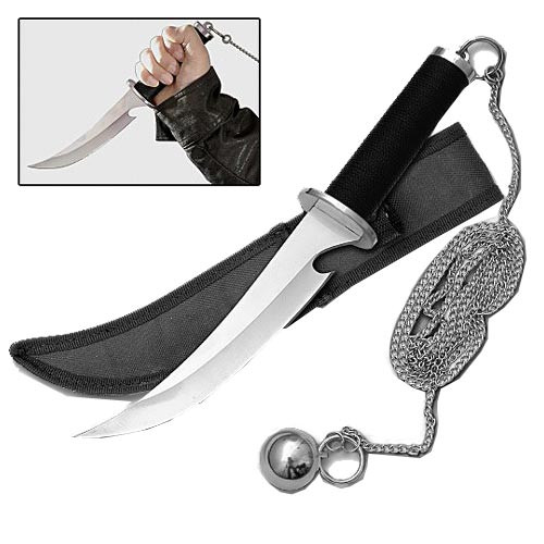 Dagger Weapon of the Ninja Assassin Knife w/ Steel Ball + Chain & Sheath
