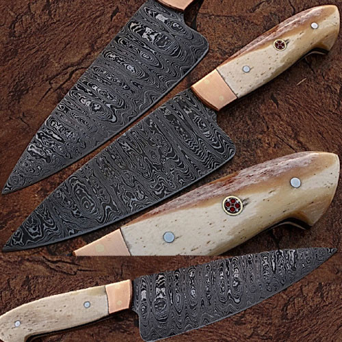 Custom Made Damascus Steel Chef Knife Camel Bone Handle Copper B