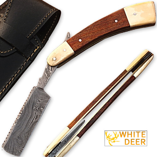Whit Deer Damascus Steel Straight Razor w/ Camel Bone & Wood Handle