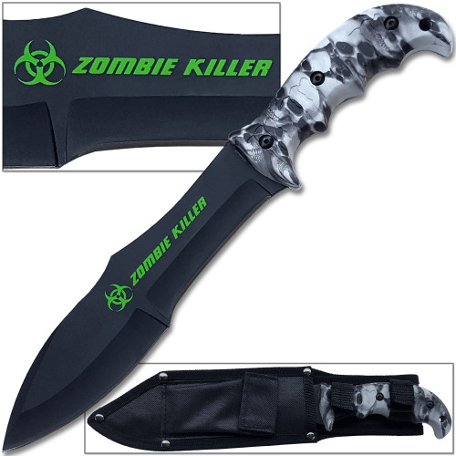 Zombie Outbreak Survival Knife Hybrid Extreme Full Tang 12.5in Grey Survival EDC