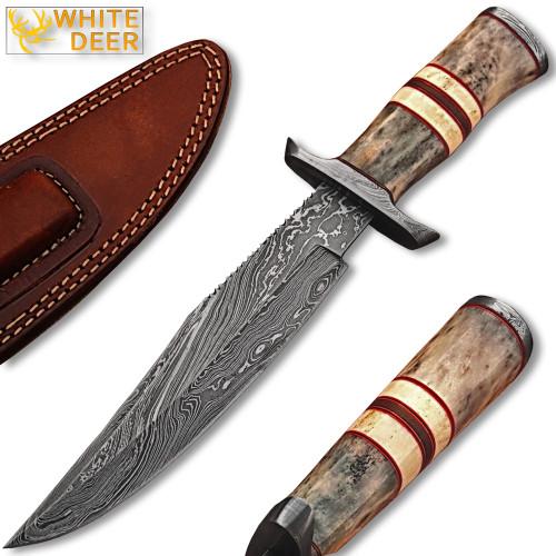 WHITE DEER Damascus Steel Hunting Knife w/ Giraffe & Camel Bone