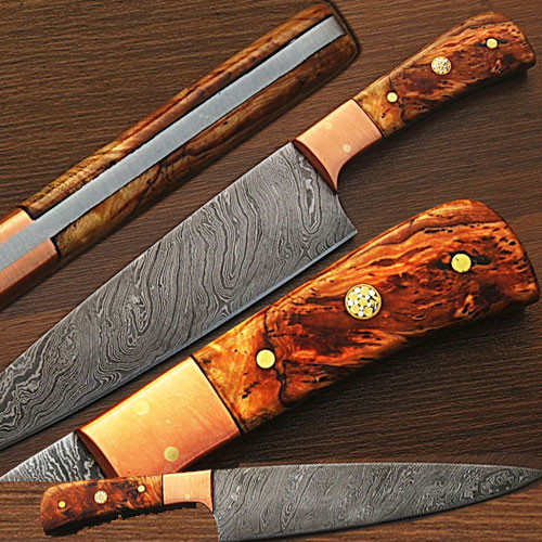Custom Made Damascus Copper Guard Chef Knife Olive Wood Handle
