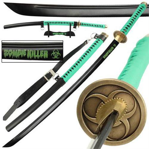 Zombie Killer High Carbon Steel Full Tang Katana Sword Hi-Vis Green