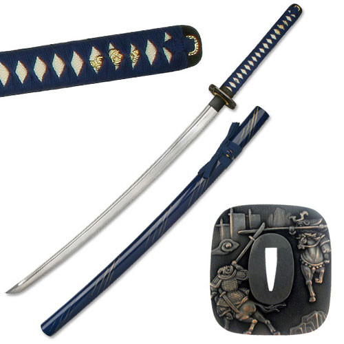 Hand Forge Special Classic Katana Sword With Blood Carving -Blue