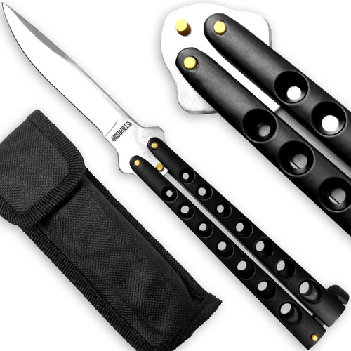 Scoundrel Alloy Balisong Butterfly Knife Black with Silver Blade
