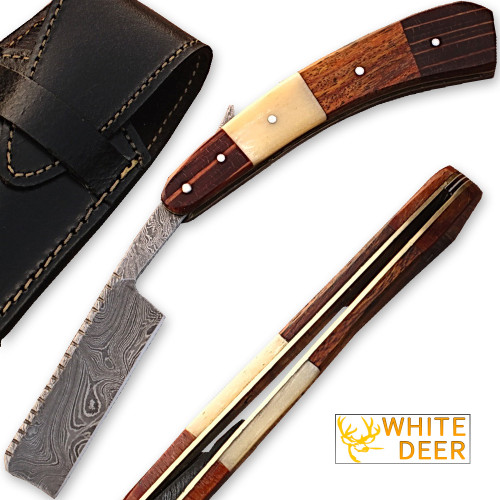 White Deer Damascus Steel Straight Razor w/ Camel Bone & Wood Handle