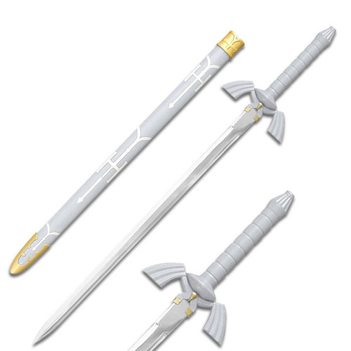 Zelda Twilight Master Sword Hyrule Triforce Replica White