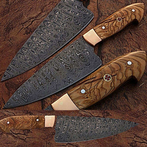 Damascus Steel Chef Knife Olive Wood Handle Copper Bolster
