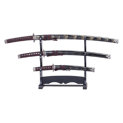 3 Pcs Samurai Sword W/Stand