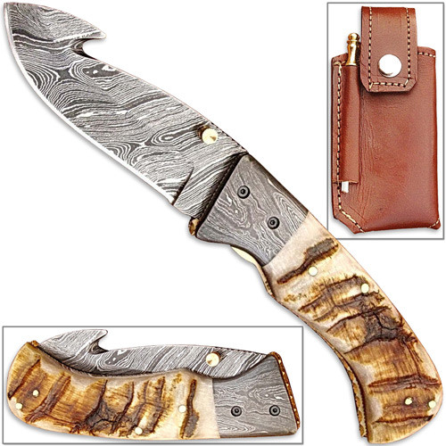 Handmade Folding Guthook Knife Ram Horn Handle Damascus Bolsteri