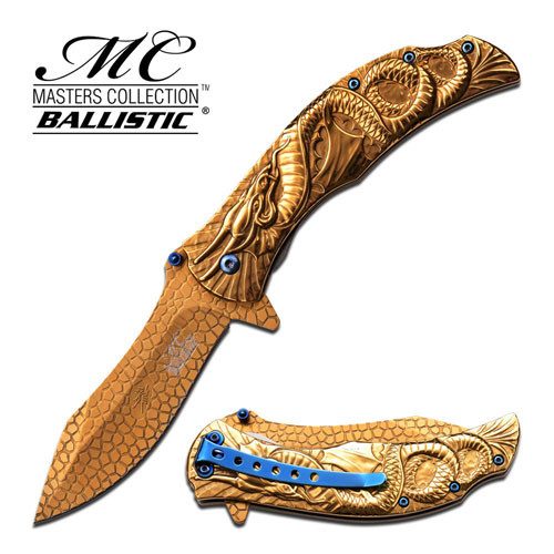 MTech Dragon Fury Assisted Opening Folding Pocket Knife Gold Tit