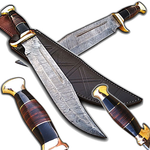 Handmade Damascus Steel Outback American Bowie Knife