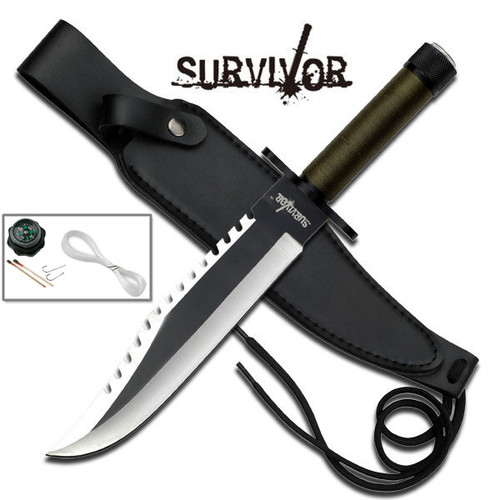 Survivor Sawback Bowie Knife w Survival Kit | Drop Leg Holster Leather Sheath