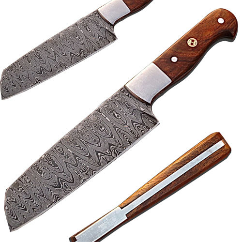 Custom Handmade Damascus Chef Knife Tanto Walnut Wood Handle