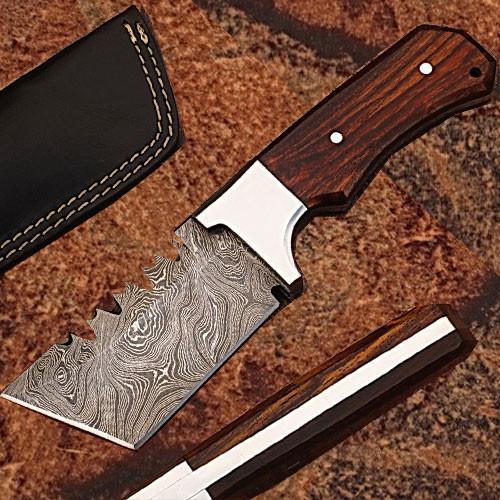CUSTOM MADE DAMASCUS STEEL TRACKER TANTO  KNIFE