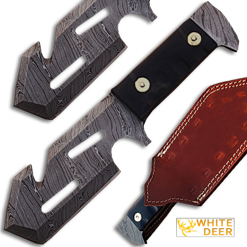 White Deer Tracker Damascus Steel  Guthook Skinner