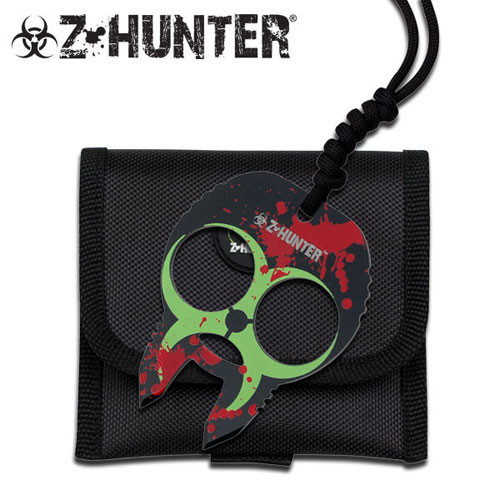 Zombie Hunter Knuckle Buckles - Blue Green with Red Splash