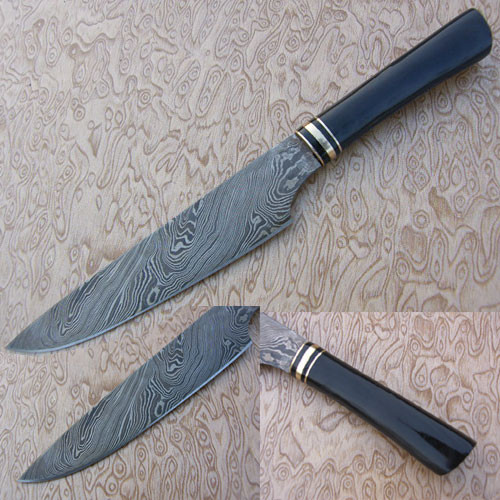 Damascus Steel Chef Knife (Buffalo Horn Handle)