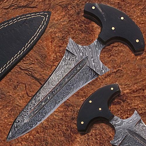 Push Dagger Custom Made Damascus Blade