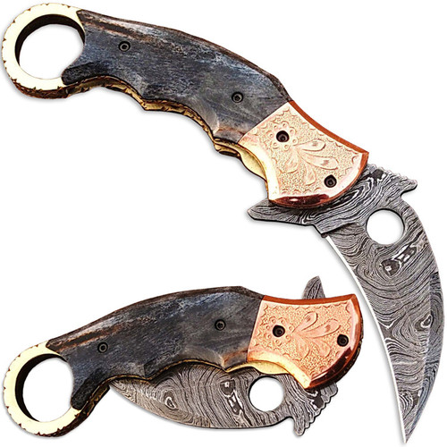 Ka-Rambo Damascus Folding Knife (Karambit) Giraffe Bone w Engrav