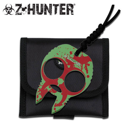Zombie Hunter Knuckle Buckles - Green Red with Red Splash