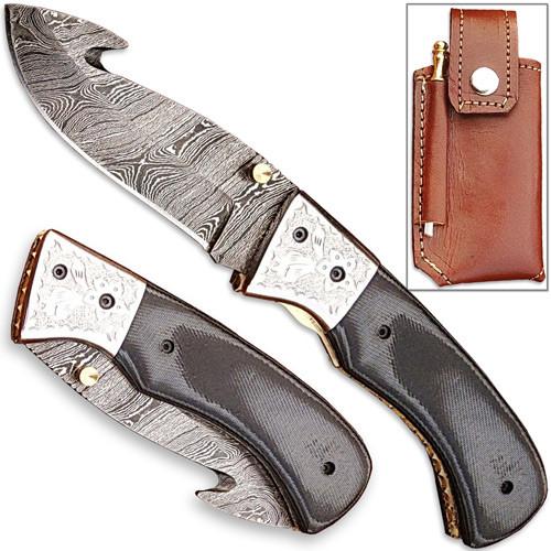 Forged Damascus Steel Folding Knife Guthook Micarta Composit Han