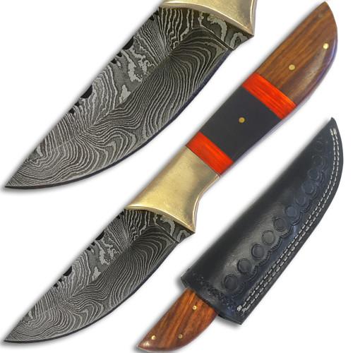 White Deer Damascus Steel Straitback Skinner Knife Solid Bolster Hand Crafted