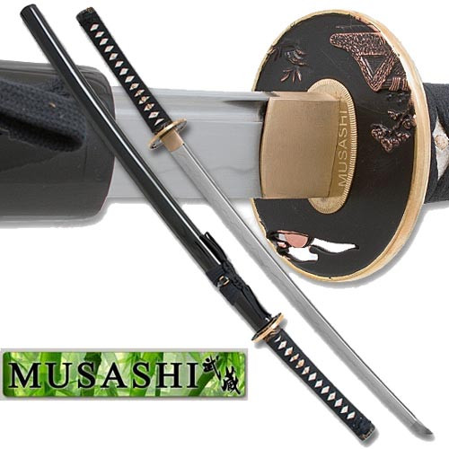 Musashi - 1060 Carbon Steel - Polished Ryoushi Tsuba - Black