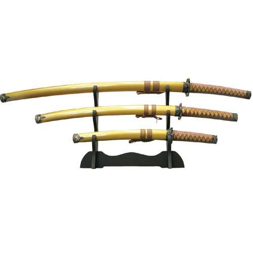 Custom Samurai gold Sword Set w/ Stand