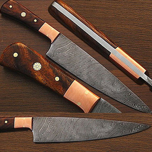White Deer Damascus Steel Chef Knife White Coco Bola Wood Handle