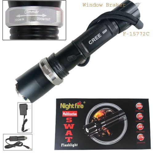 SWAT LED Flashlight with Glass-breaker
