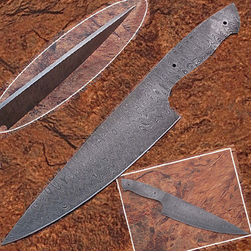 Damascus Full Tang Ladder Pattern Blank Chef Knife - Ltd.Edition 1